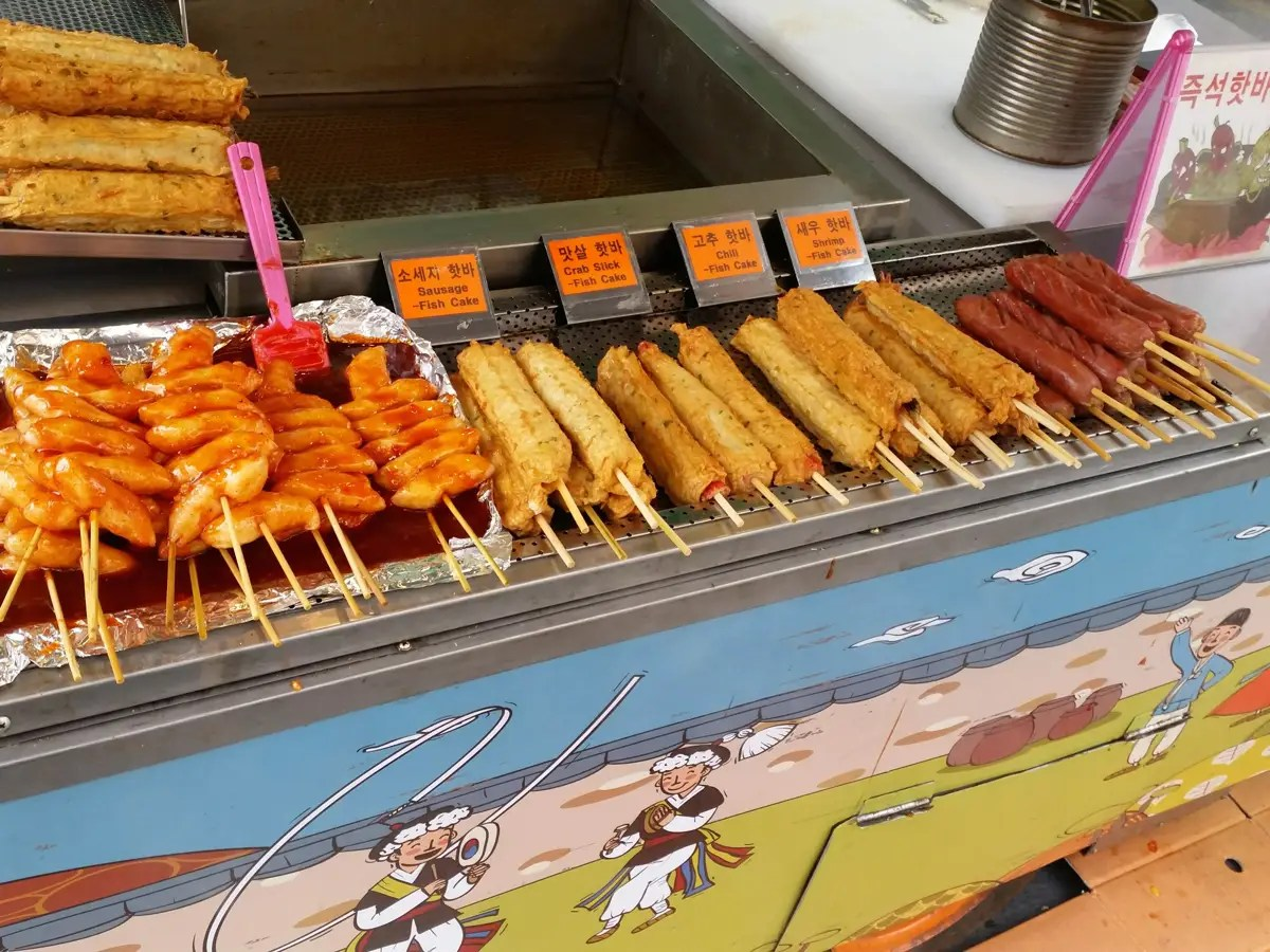 This one had fish cakes and hot dogs on a stick.