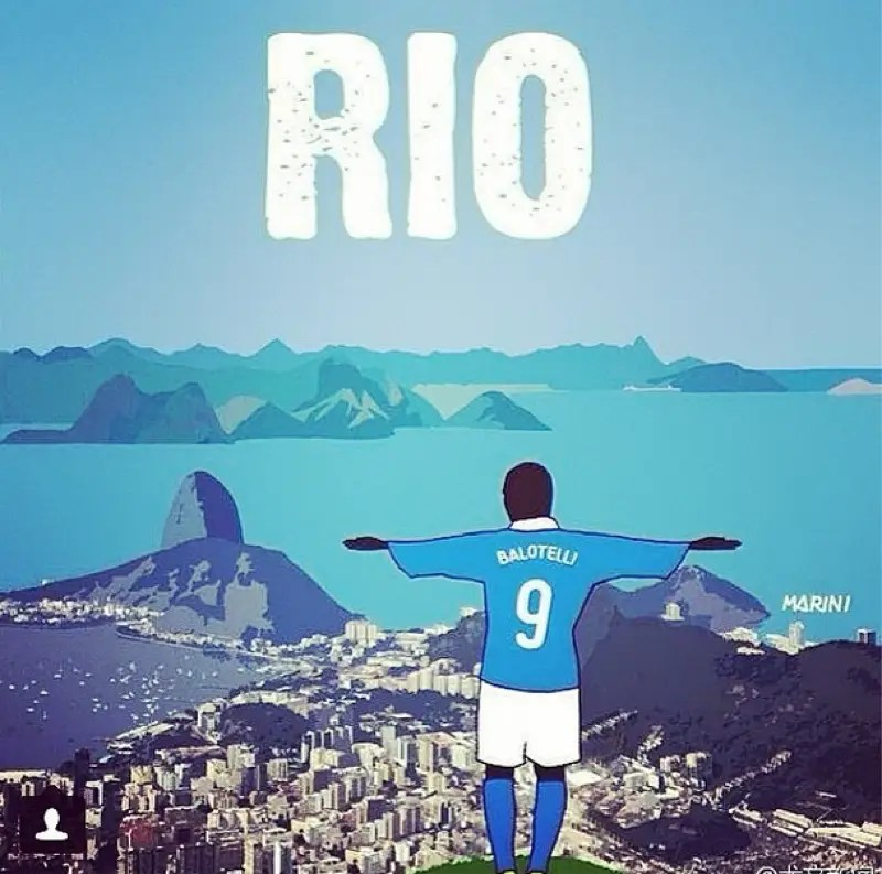 In perfect Mario fashion, he announced his arrival in Brazil by posting a photo of himself as Christ the Redeemer.