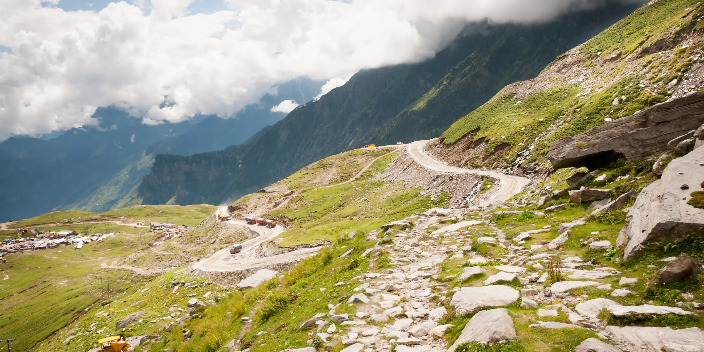 India's Rohtang Pass offers a spectacular view of glaciers, peaks and rivers.  Be warned — it's also known for its massive landslides.