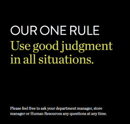 Nordstrom One Rule – common-sense and love