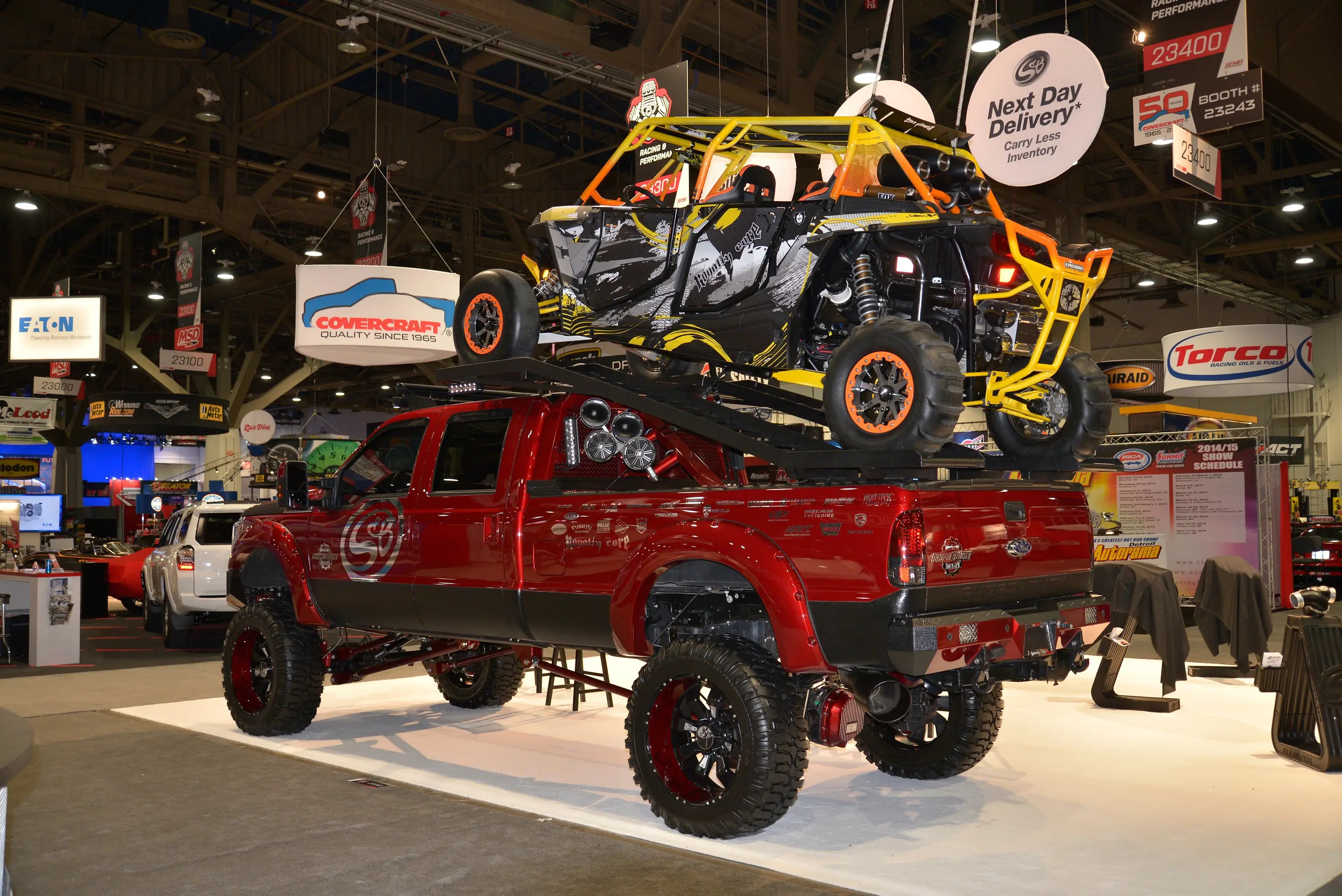 This impressive F-Series has a dune buggy mounted over its truck bed.