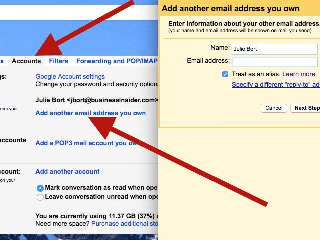 Send email from different email addresses