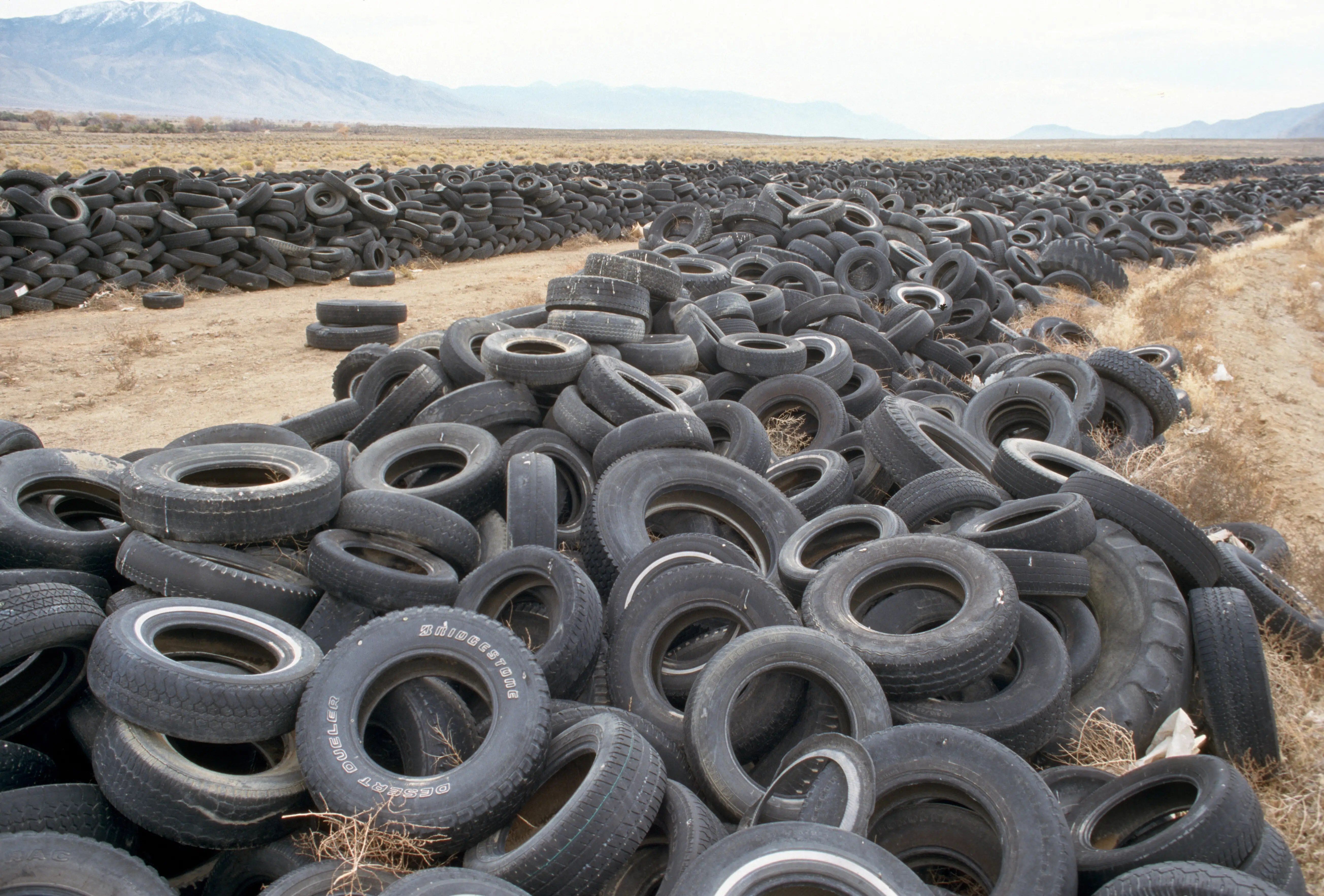 The end of the road for these tires is a desert dumping ground in Nevada. The land used to be a recreation area until around 2006, when it became a place to unload all sorts of items that people no longer needed.