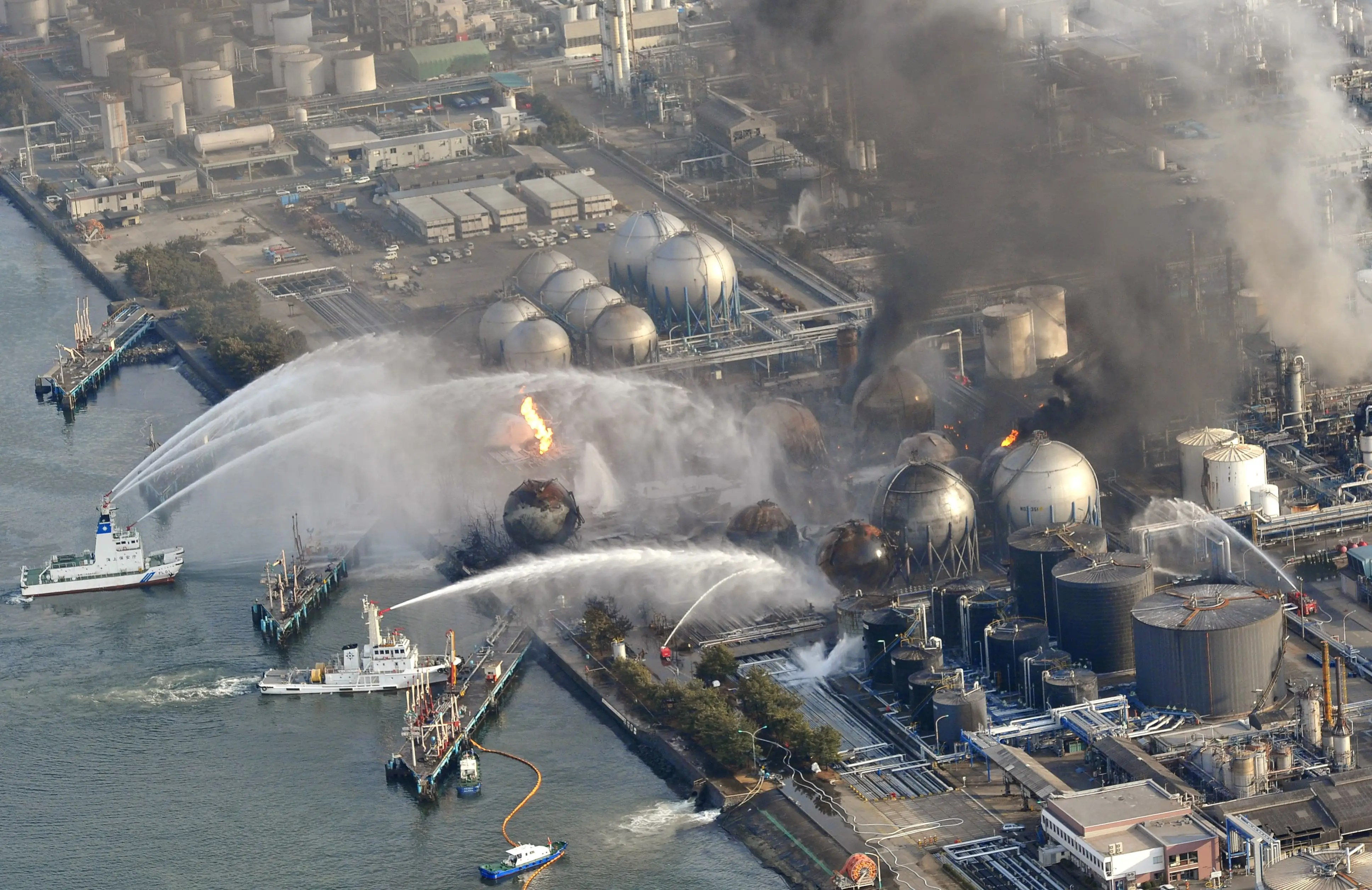A 2011 tsunami created a nuclear meltdown at the Fukushima Daiichi Nuclear Station in Japan, garnering the world's attention. Lesser known was tsunami-related damage to Japan's fossil fuel energy infrastructure, including this facility near Tokyo.