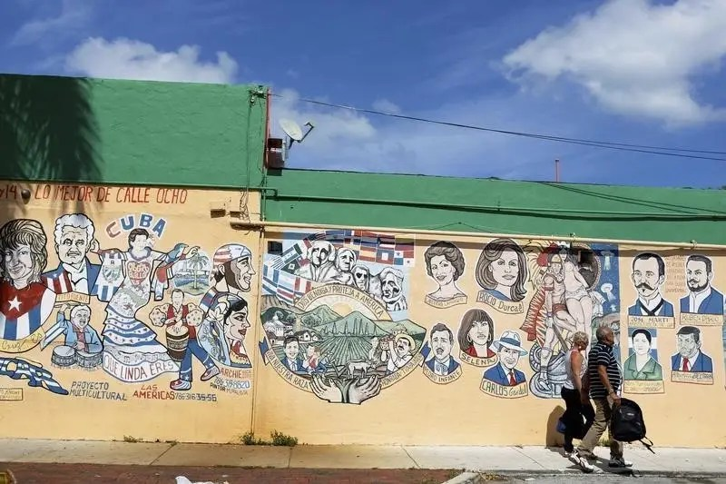 Cuban-themed murals adorn the buildings along SW 8th Street, known locally as