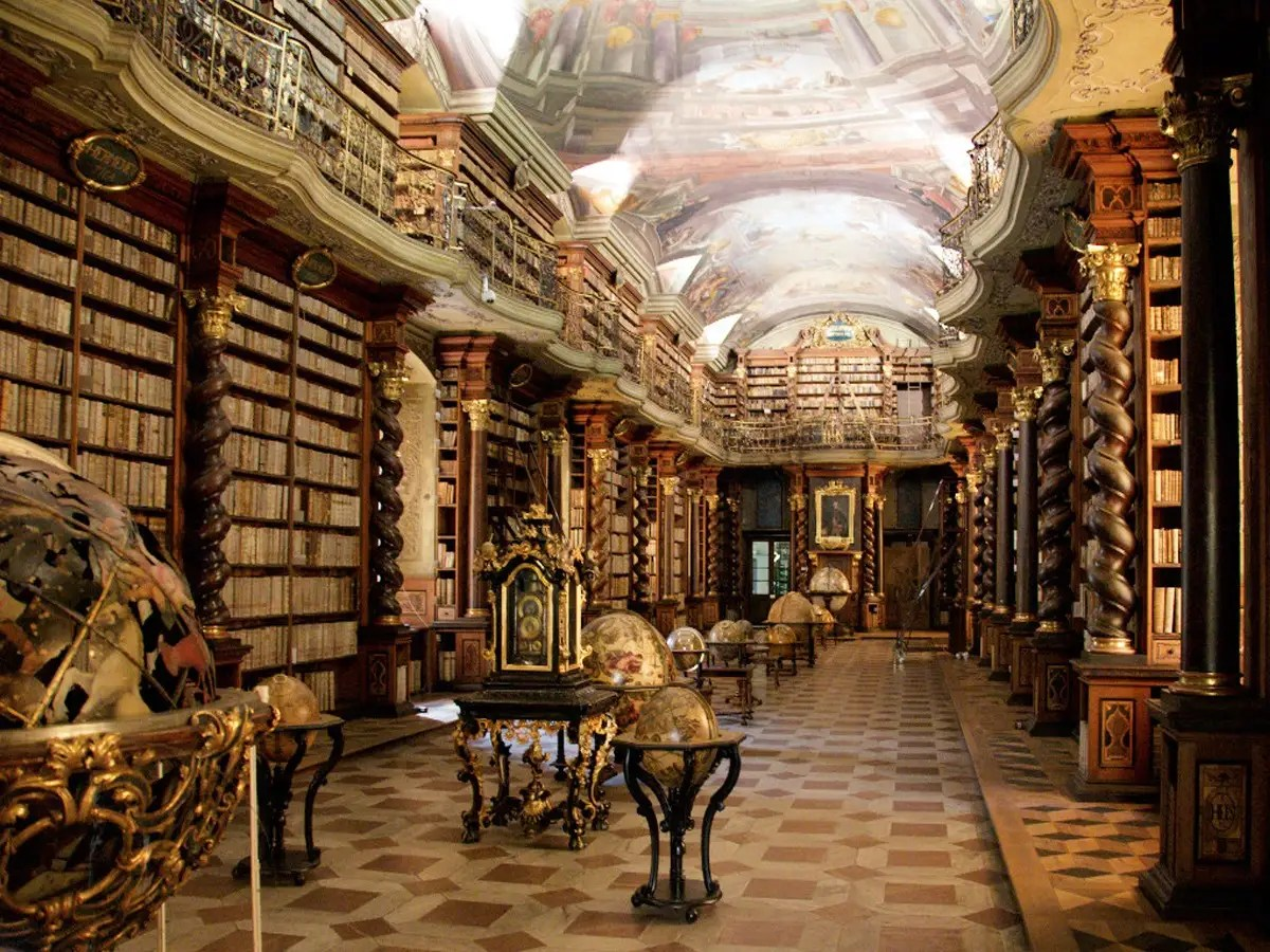 The Clementinum National Library in Prague, Czech Republic, was founded in 1781 and has the largest collection of books in the country. It also houses personal items of historical figures such as Mozart and Tycho de Brahe.