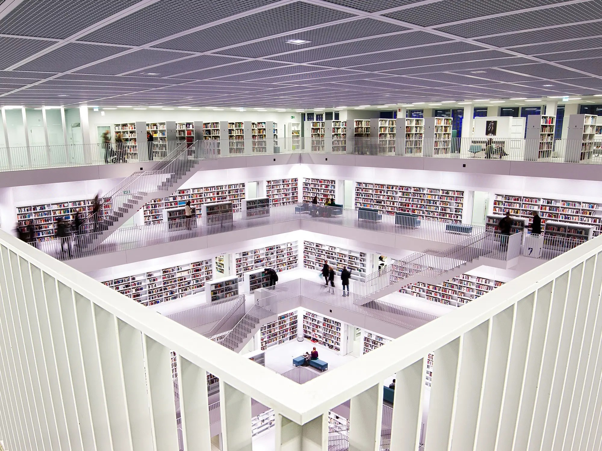 The Stuttgart City Library is nine floors of sheer white. The building is cube-shaped — it was modeled after the Pantheon — and the floors all wrap around an open center, making for a unique layout.