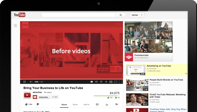 August 2007: Google decides it's time to start making money, and rolls out the first ads for YouTube. The first advertisements were semi-transparent banners that popped up on the lower 20% of videos. The overlaid ads would appear about 10 to 15 seconds into the video.