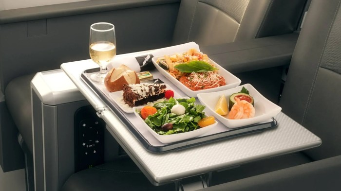 "In late 2016, American Airlines invested more than $2 billion in ""the customer experience,"" completely redesigning its meal service in first class cabins. Depending on the duration of the flight, passengers now enjoy a marinated cheese antipasto, fresh seasonal greens with pepper cream dressing, assorted gourmet breads, chilled prawns with an aioli tarragon sauce, and an ice cream sundae — all at no extra charge."