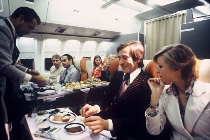 After the 1978 deregulation and with the rising democratization of air travel, many airlines offered simpler meals or removed them from economy class. First class, meanwhile, still got reasonably good meals.