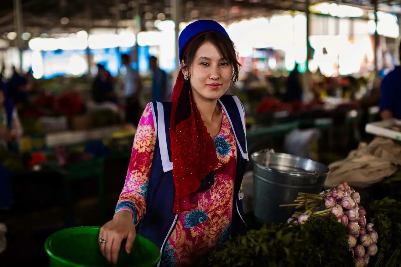 This woman is a market seller from Dushanbe, Tajikistan.