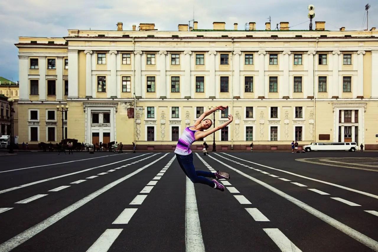 A ballerina displays her talent in Saint Petersburg, Russia.