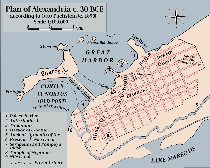 Alexandria took the lead with 150,000 people by 300 B.C.