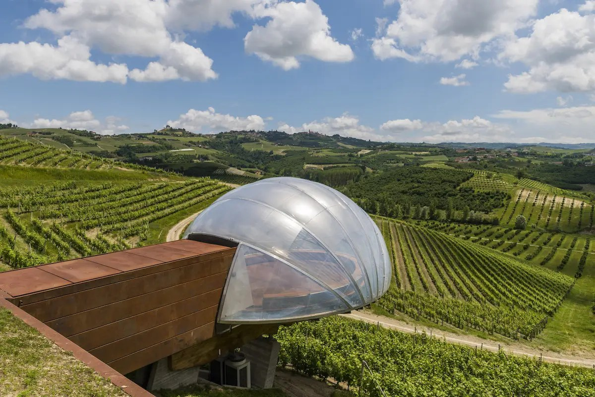 70. This bubble-shaped pod at the Ceratto Winery overlooking the vineyards in Alba, Italy, is designed to resemble a grape.