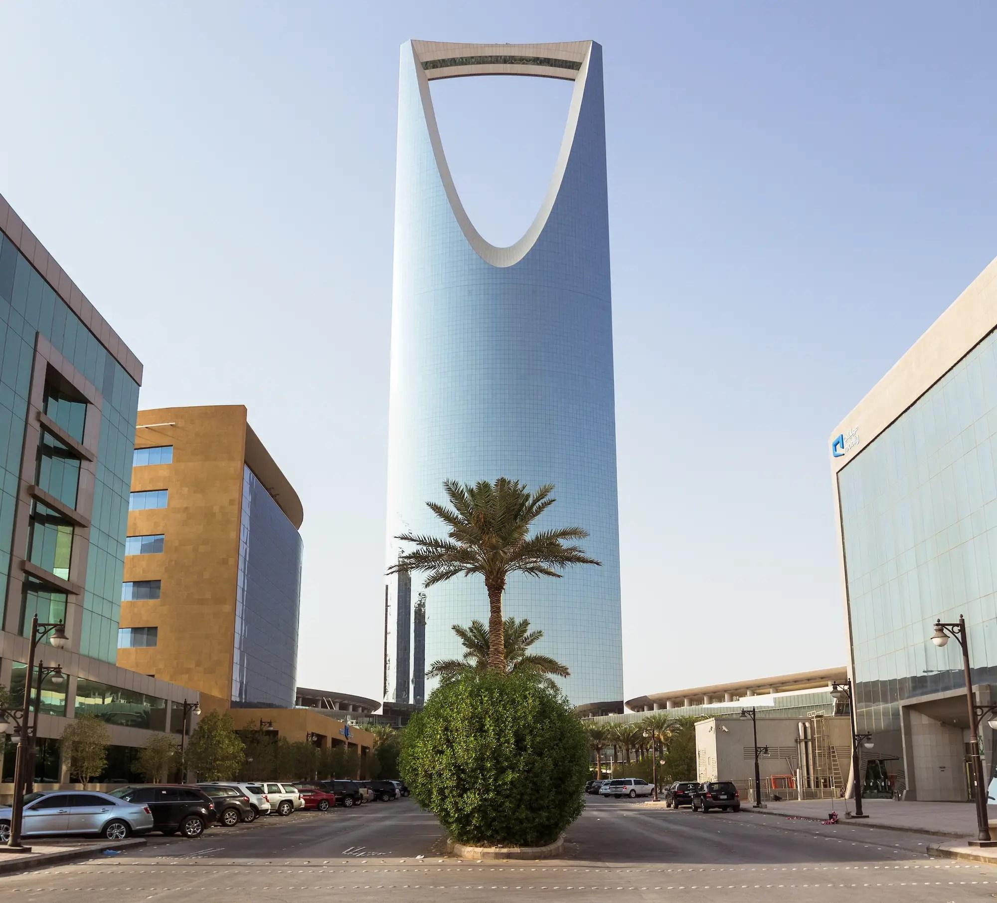 64. The razor-like Kingdom Centre overlooks Riyadh city, Saudi Arabia.