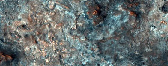 An ancient and contorted Martian landscape that NASA is eyeing as a Mars 2020 landing site.