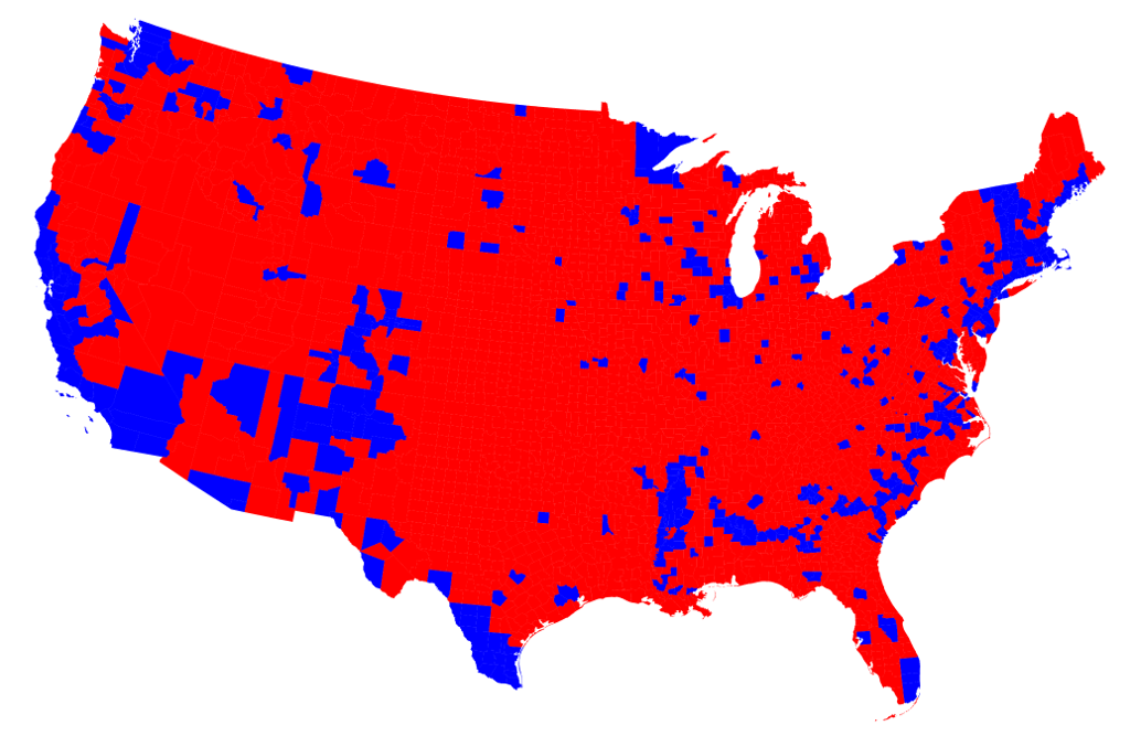 States themselves are not monolithically blue or red. Here's the projected winner in each county in the US. At first glance, there are a handful of blue islands, mostly concentrated along the coasts, surrounded by a sea of red.