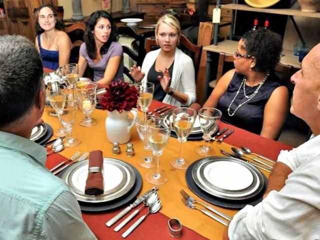thanksgiving dinner eating talking