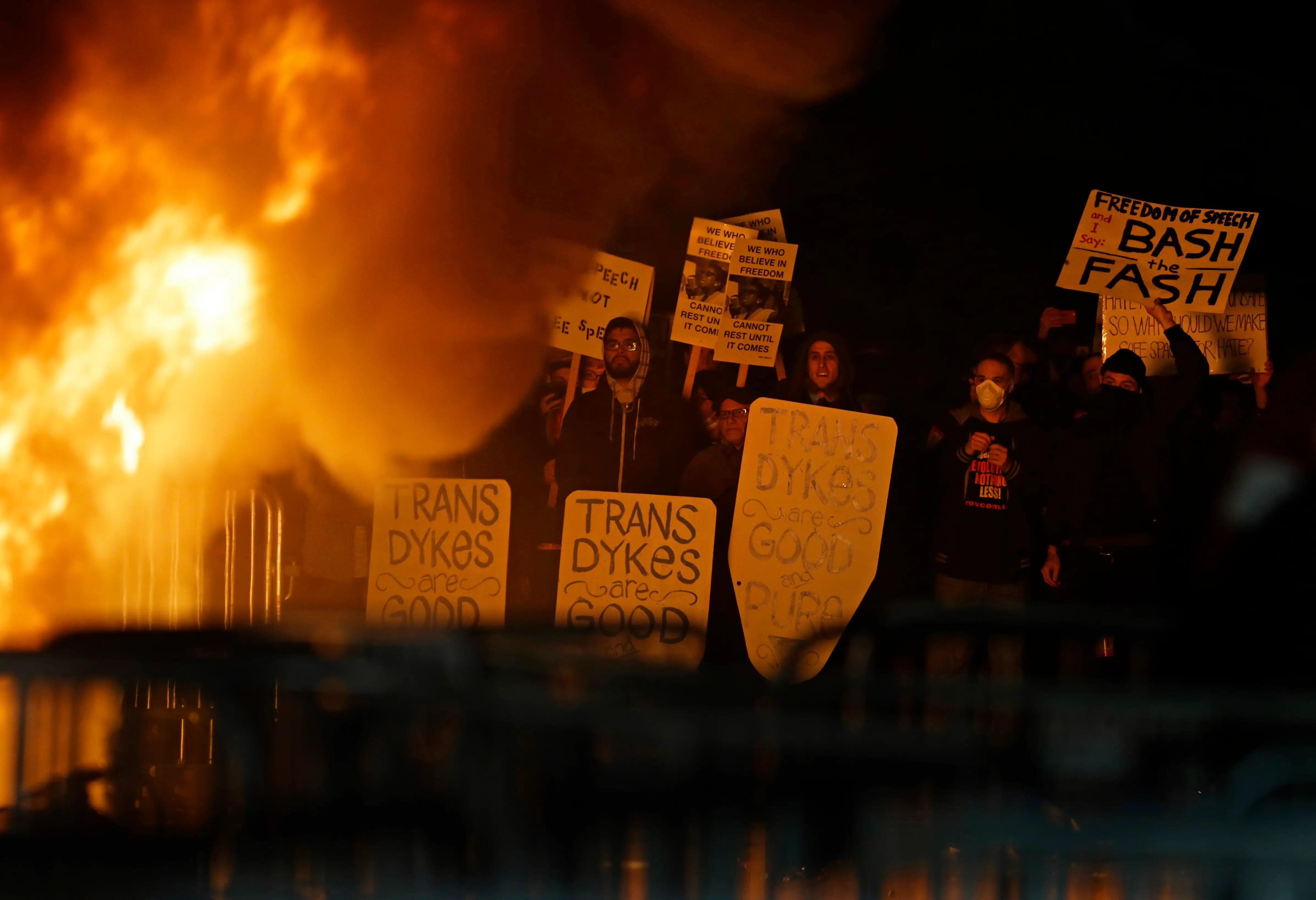 UC Berkeley Milo Yiannopoulos protests
