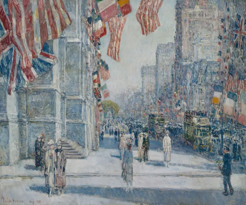 American art was mostly pro-war, at least at first. None more so than Childe Hassam's dreamy paintings of flags in New York City.