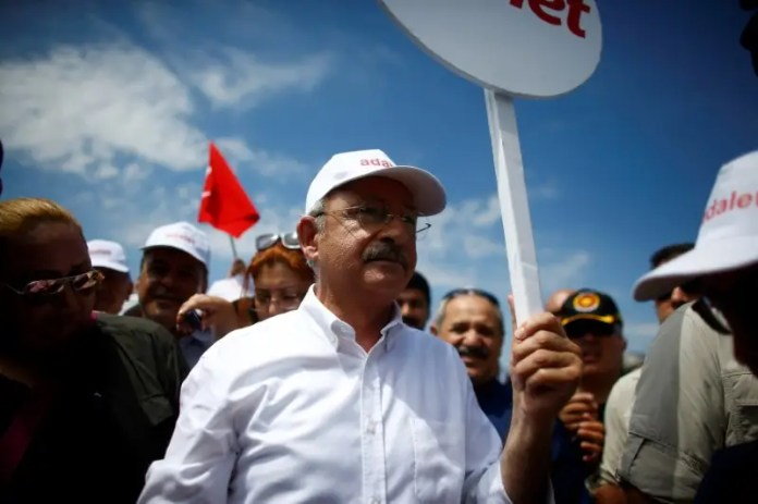 FILE PHOTO: Turkey's main opposition Republican People's Party (CHP) leader Kemal Kilicdaroglu walks during a protest, dubbed