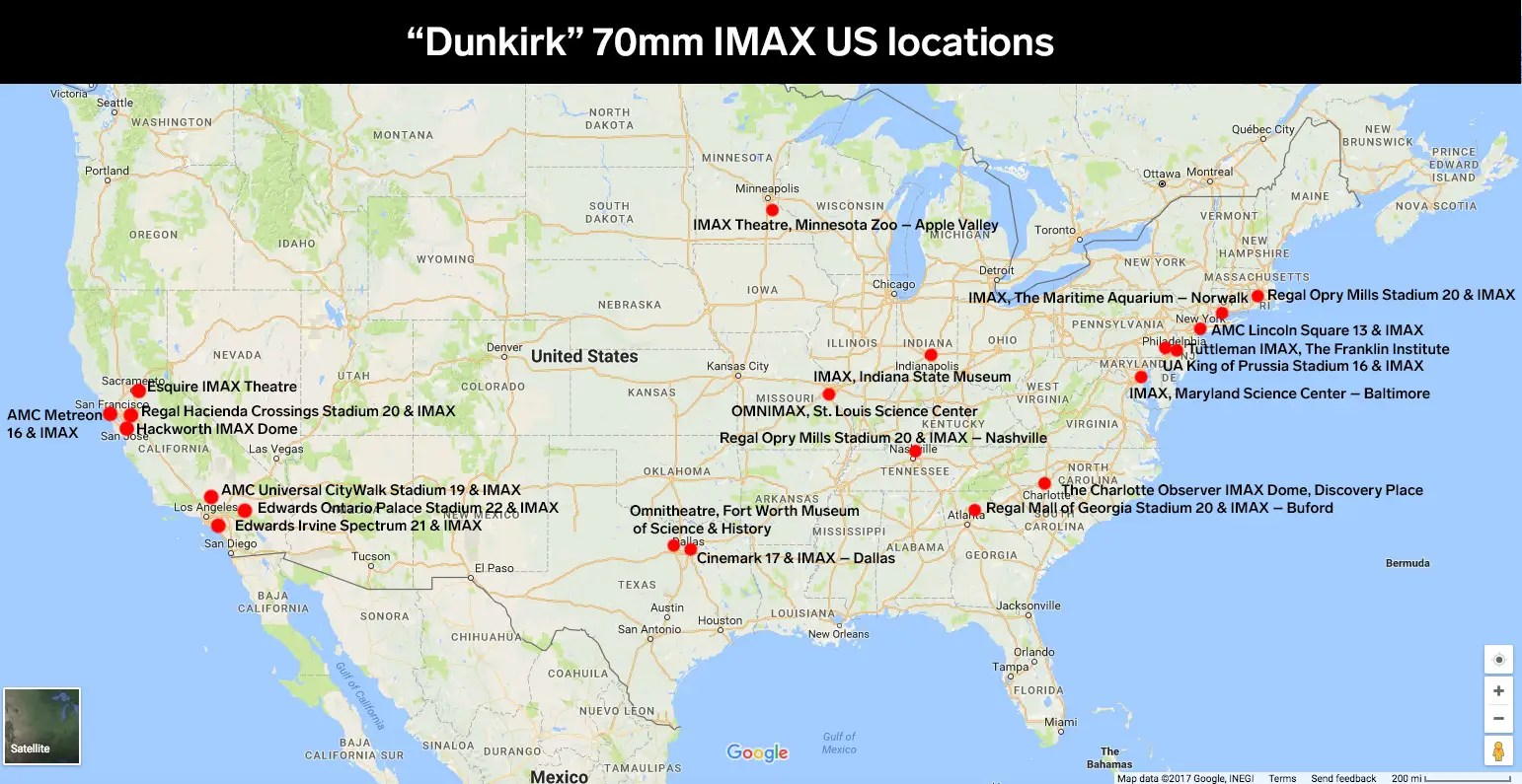 dunkirk 70mm imax locations