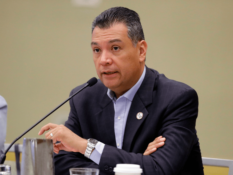 "California Secretary of State Alex Padilla: ""Another attack on American values."""