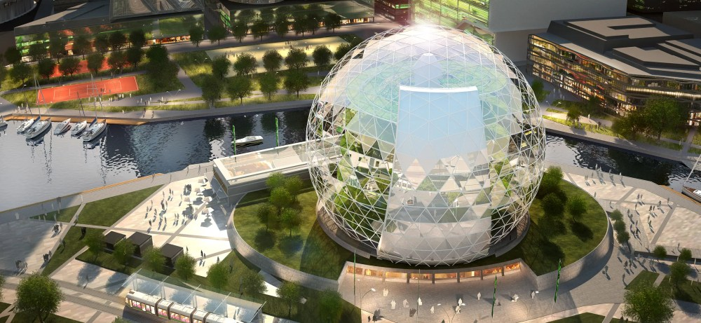 Plantagon has designed another similar indoor farm with offices, though it's in the shape of a globe. There are no plans to build it yet.