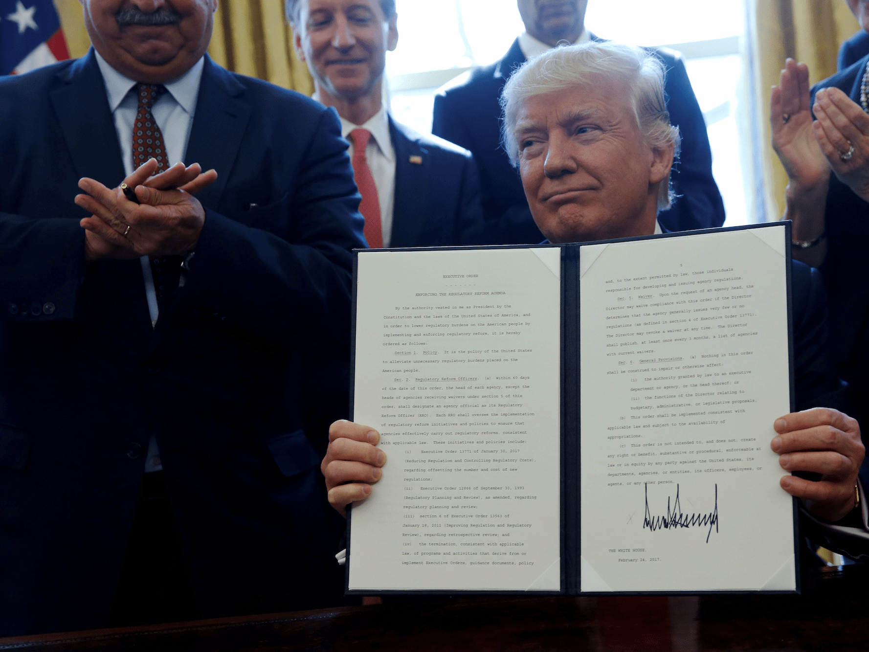 February 24: Trump signed a myriad of executive orders, rolling back many Obama-era regulations. In his first 100 days, Trump issued 90 presidential actions, including 32 executive orders.