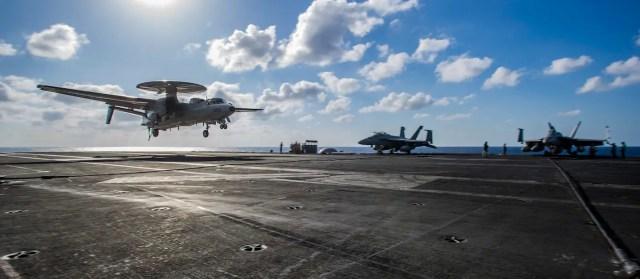 US Navy aircraft carrier Ronald Reagan E-2D Hawkeye Keen Sword