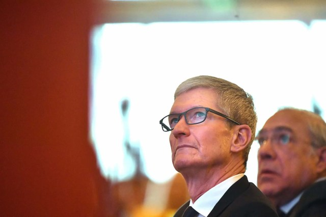 Apple Inc. CEO Tim Cook attends China Development Forum (CDF) 2018 at Diaoyutai State Guesthouse on March 25, 2018 in Beijing, China.