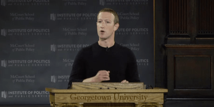 Throughout a reside speech at Georgetown College, Fb CEO Mark Zuckerberg recognized the three greatest threats to free speech on-line (FB)