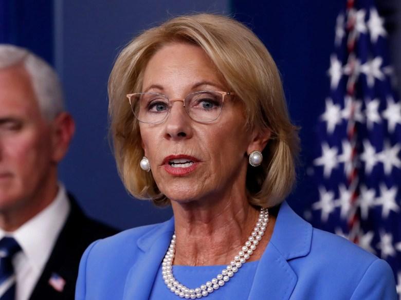 Education Secretary Betsy DeVos speaks about the coronavirus in the James Brady Press Briefing Room, Friday, March 27, 2020, in Washington. (AP Photo/Alex Brandon)
