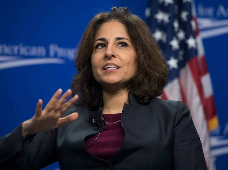 UNITED STATES - FEBRUARY 12: Neera Tanden, president of the Center for American Progress, moderates a discussion with former Homeland Security Secretary Jeh Johnson titled