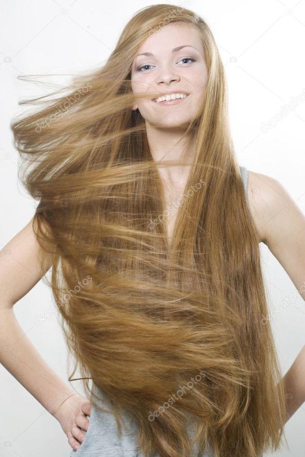 Улыбаясь блондинка с длинными волосами, большой — Стоковое ...