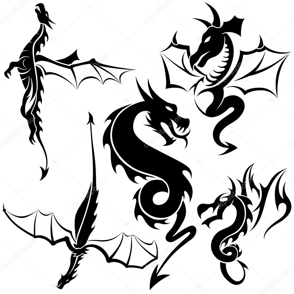 Tattoo dragons 04 black
