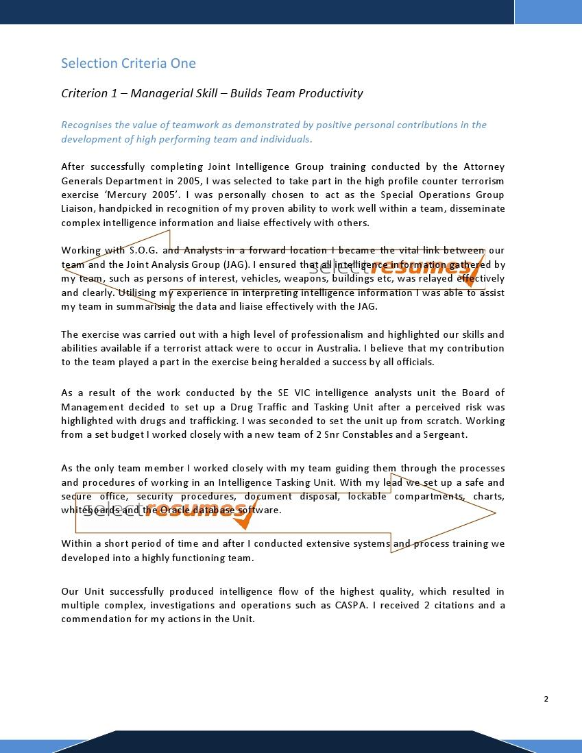 cover letter addressing selection criteria examples – Selection Criteria Cover Letter