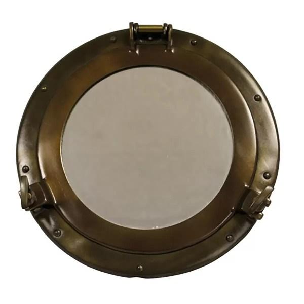 Antik réz hajóablak tükörrel 50 cm Tükör