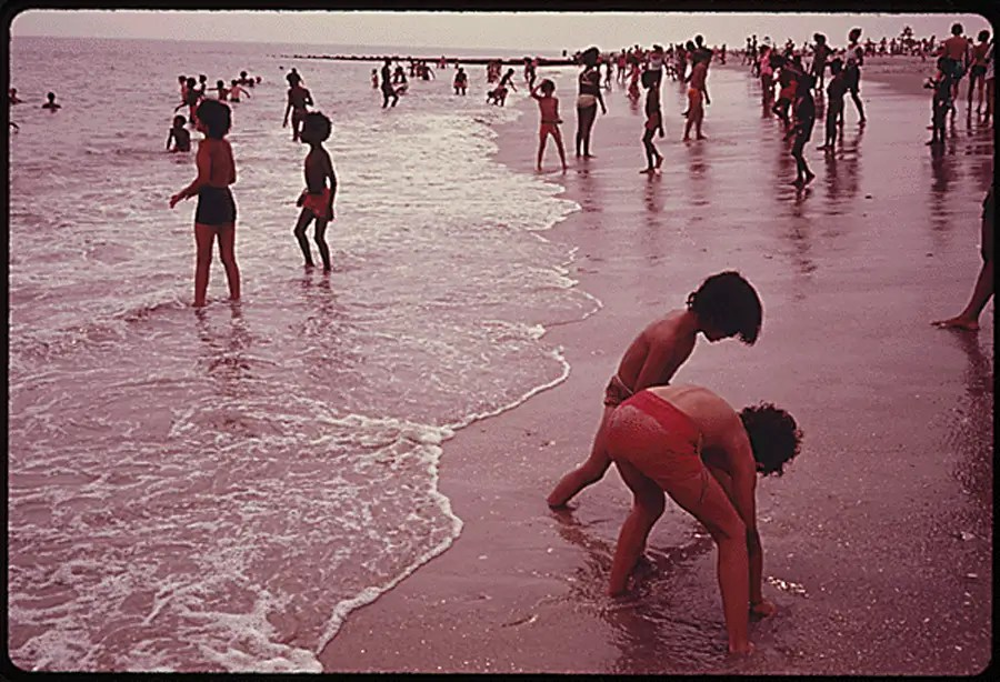 Children at the beach in Riis Park, Brooklyn
