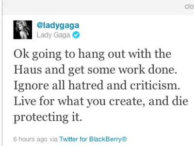 Lady Gaga, pop superstar: Blackberry