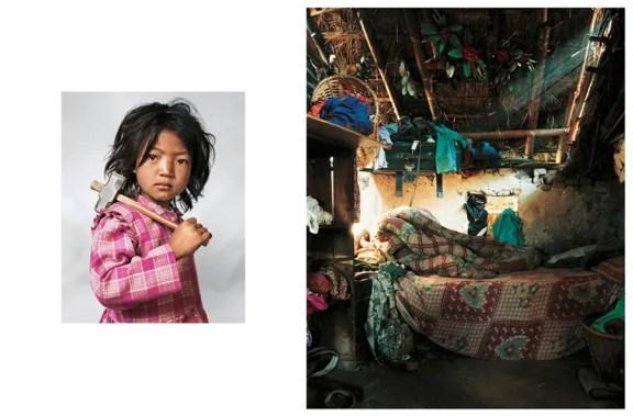 Indira, 4, ζει με τους γονείς της, τον αδελφό και την αδελφή κοντά στο Κατμαντού στο Νεπάλ. Στην ώρα του ύπνου, τα παιδιά μοιράζονται το στρώμα στο πάτωμα. Έχει εργαστεί στο τοπικό λατομείο γρανίτη από τότε που ήταν 3. Όλη η οικογένεια πρέπει να εργαστεί επειδή είναι τόσο κακή.
