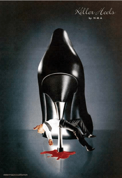 This Killer Heels ad by the Newspaper Marketing Agency, a group set up by major national newspapers including the Times, Daily Telegraph, Guardian, etc.—was banned after the ASA received 81 complaints in 2004. The ad was deemed to be offensive, sexist, and condoning violence.