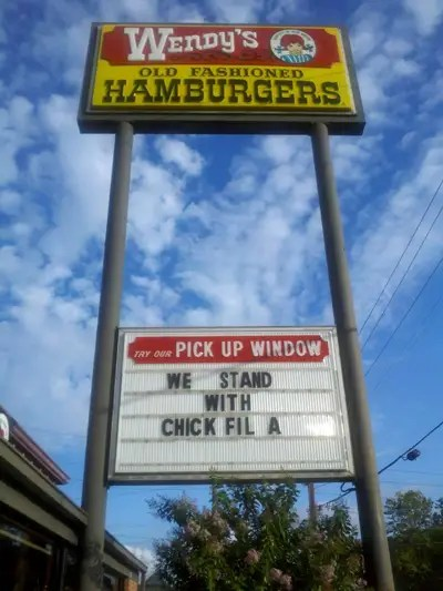 A independent franchisee's Wendy's sign expressing support.