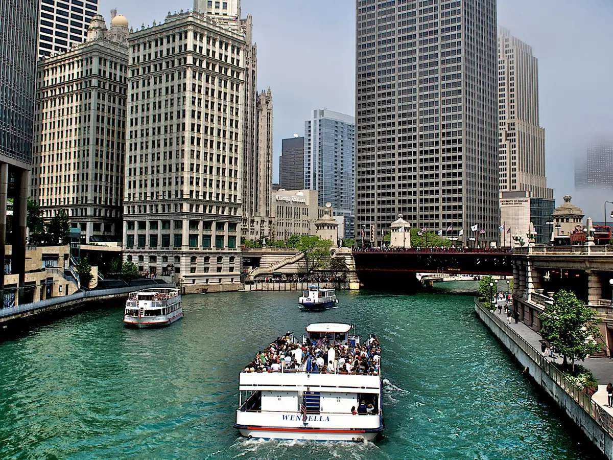 Take an architectural tour of Chicago by boat.