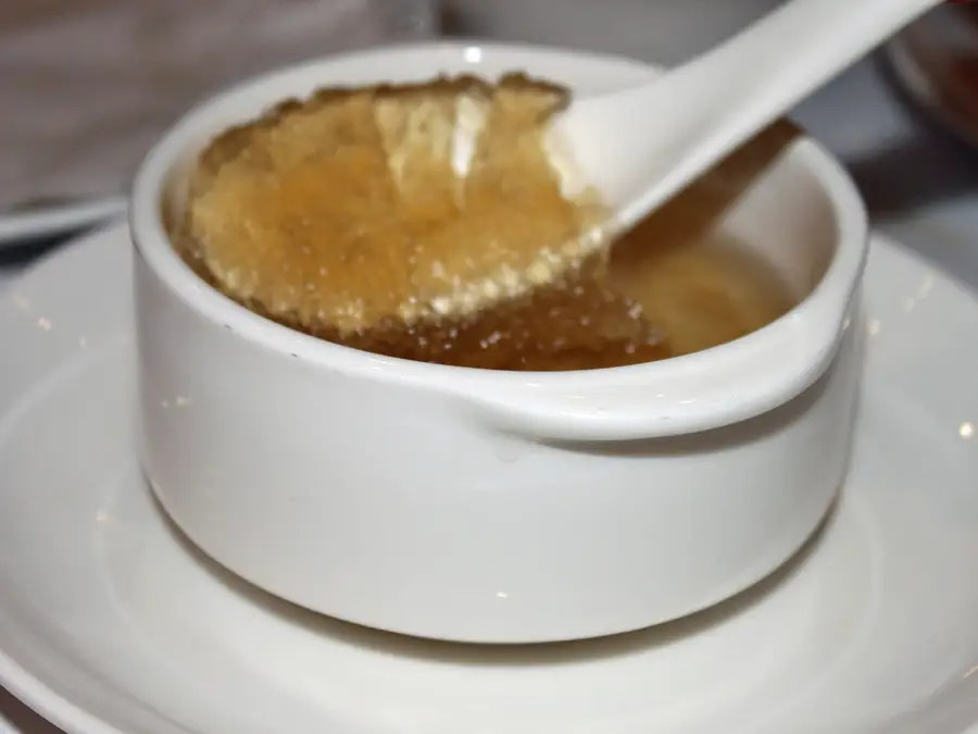 Bird's nest soup is a Chinese dish that's made with the saliva of a swiftlet bird and is considered to have healing powers. The soup is incredibly expensive: a bowl can easily cost about $100.