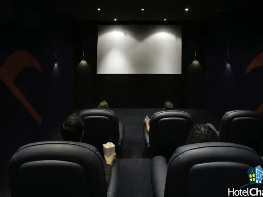 There's a private cinema that seats nine people.