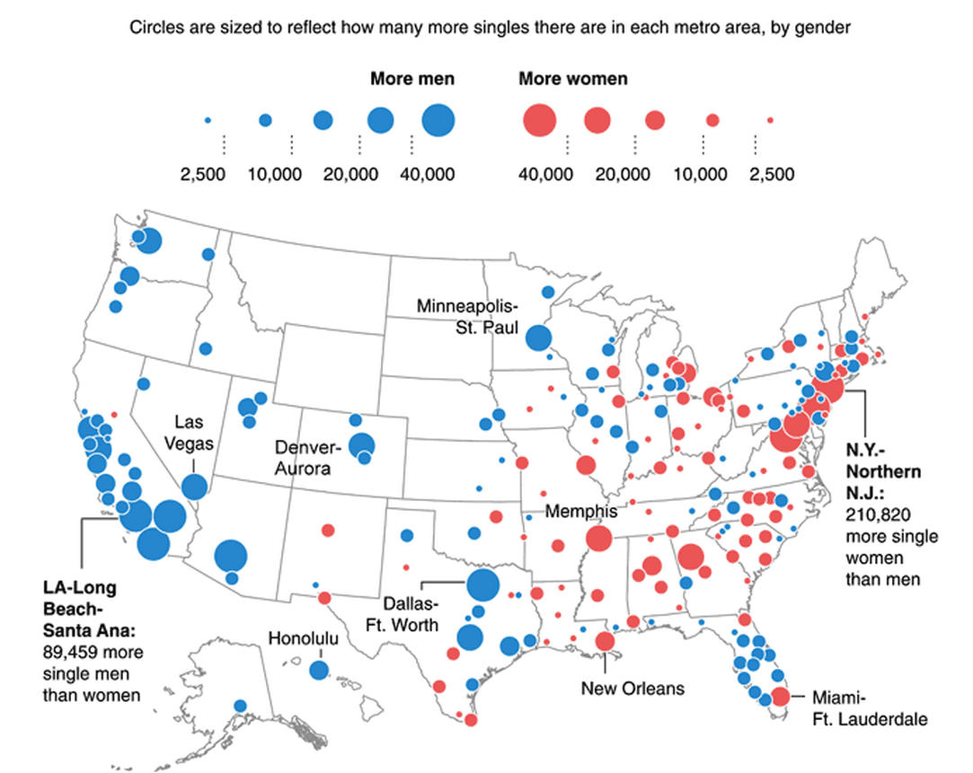 Where the singles are, and where the men outnumber the women and vice versa.