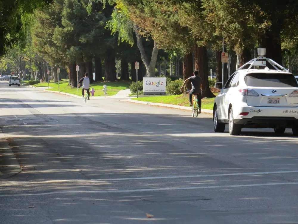 The self-driving car was circling the campus, sharing the road with the many Googlers on bikes.