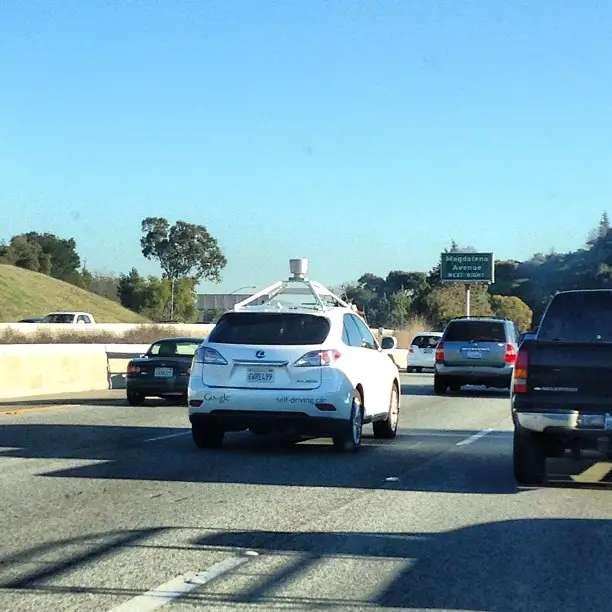 Google's self-driving cars are all over the highways, near Mountain View, too. We saw one fly by on Highway 101 while leaving the 'Plex, driving north toward San Francisco. We couldn't safely grab the camera while driving, so here's a picture someone else took.