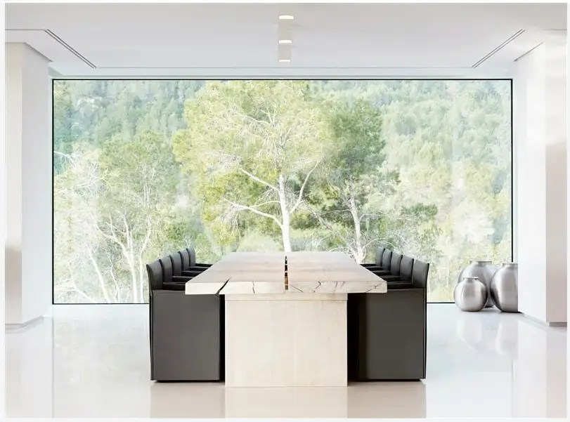 You can see more of the greenery from this formal dining room.